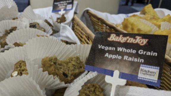 Bake'N Joy was showcasing its new line of vegan muffins, including the Vegan Whole Grain Apple Raisin flavor.