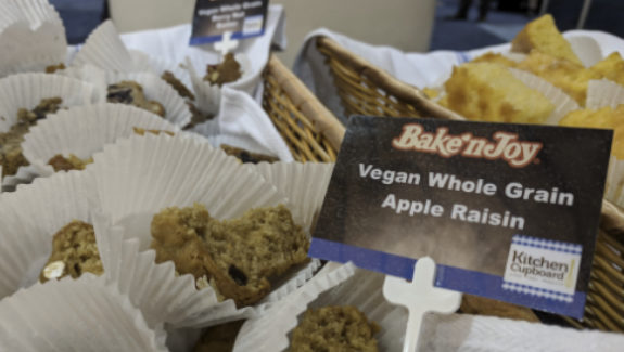 Bake'N Joy was showcasing its new line of vegan muffins, including the Vegan Whole Grain Apple Raisin flavor.