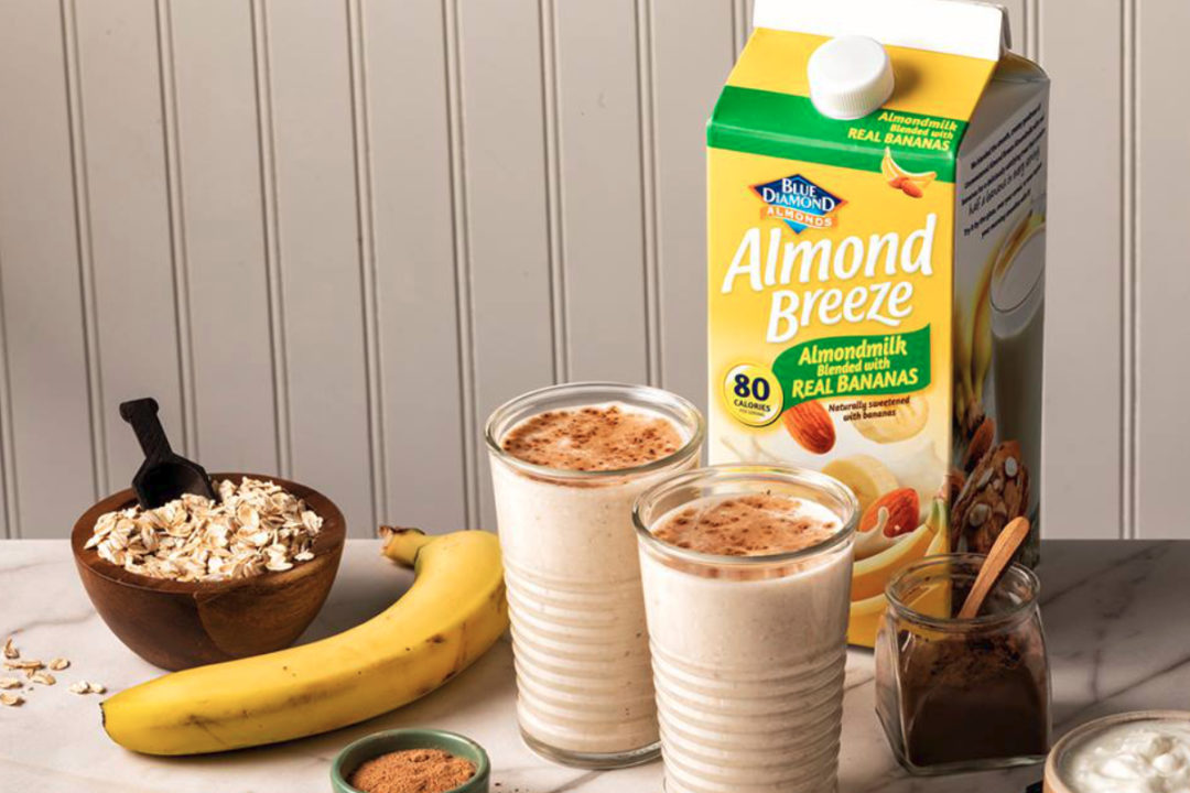 Almond Breeze almond-based beverage blended with bananas