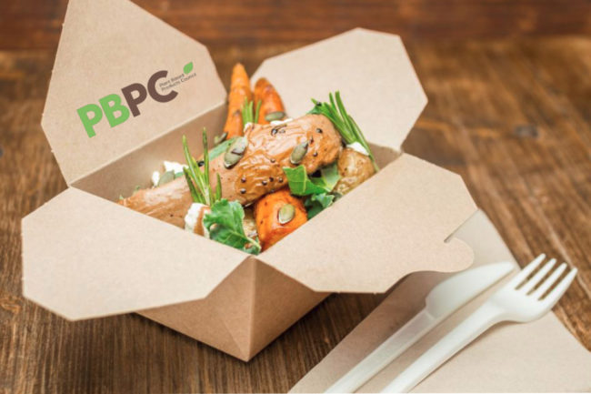 Plant Based Products Council salad in recyclable packaging