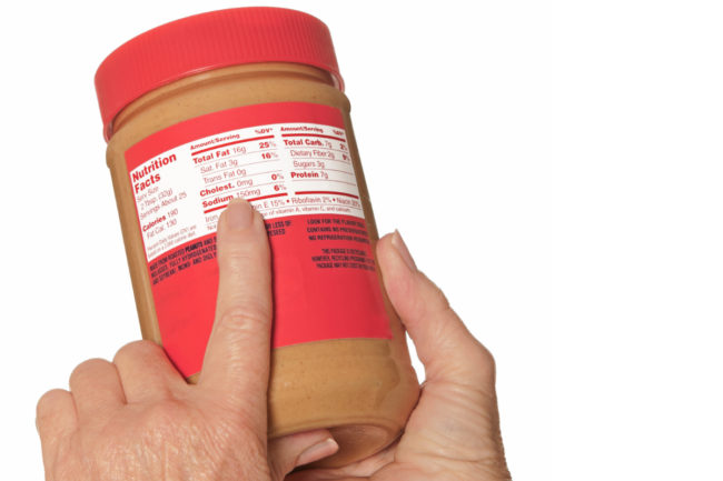 Reading Nutrition Facts label on peanut butter