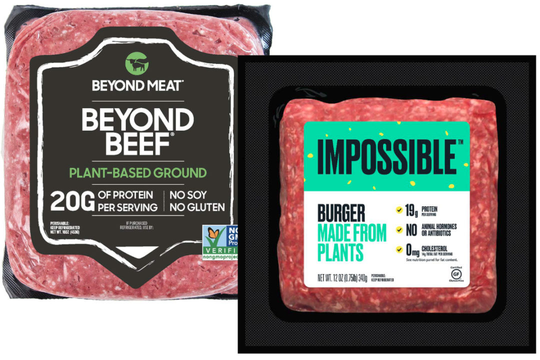 Plant-based beef from Beyond Meat and Impossible Foods
