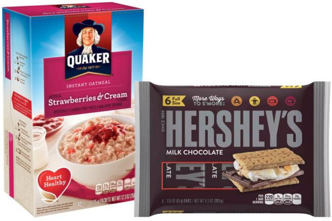 Quaker oatmeal and Hershey's bars