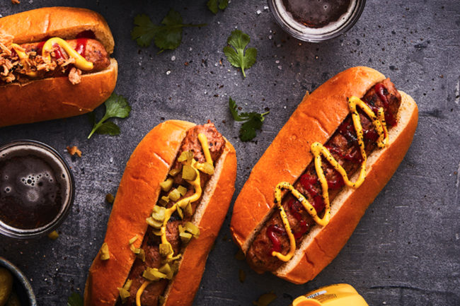 Plant-based hot dog meat alternatives