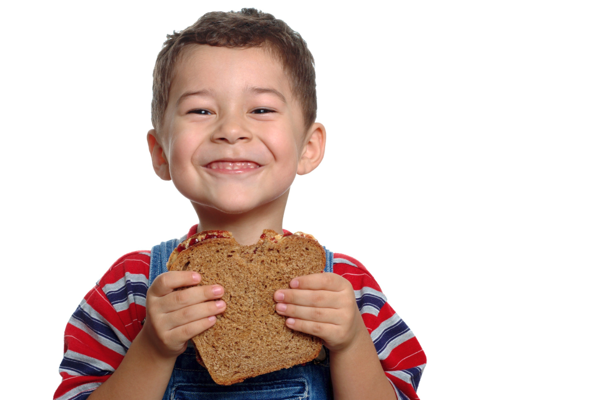 Child eating sandwich