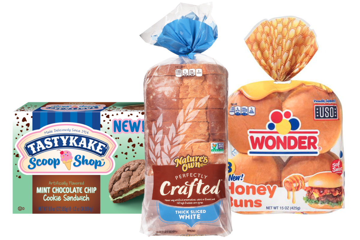 Flowers Foods new products - Natures Own Perfectly Crafted, Wonder hamburger buns with a touch of honey and Tastykake Scoop Shop