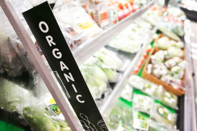 Organic produce section in grocery store