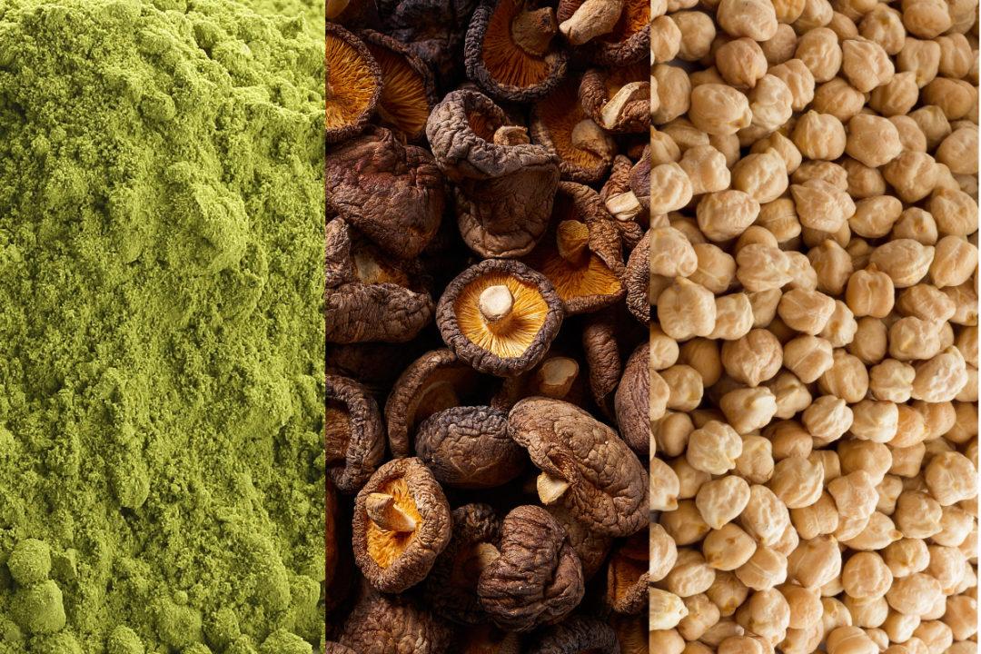 Matcha, Mushrooms and Garbanzo Beans
