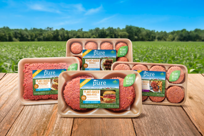 Pure Farmland soy-based burger and meatball altneratives