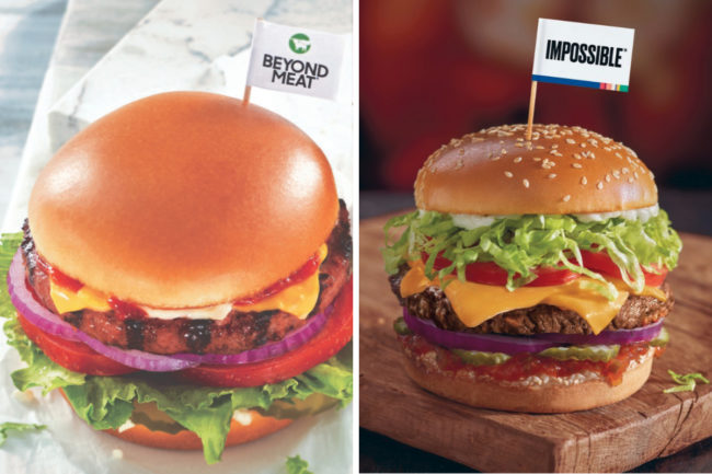 Beyond Meat and Impossible Foods menu items