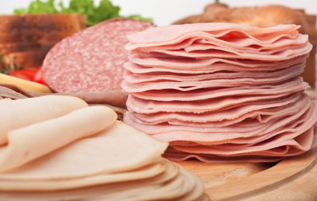 Stacks of deli meat