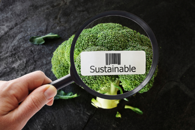 Produce with sustainability sticker
