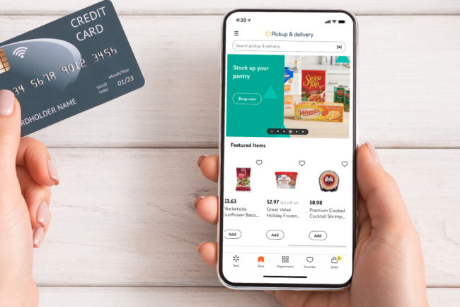 Shopping for Walmart groceries online using smart phone