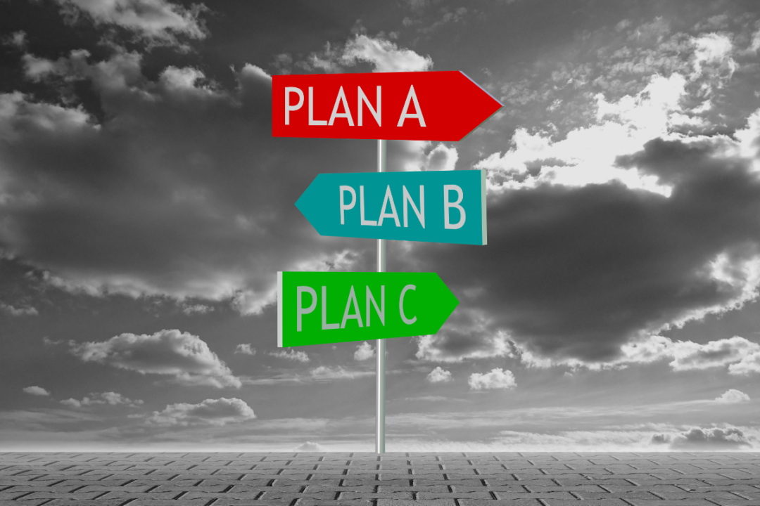 """Post with signs reading """"Plan A"""" Plan B"""" and """"plan C"""""""