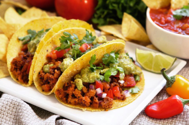 Tacos made with plant-based meat
