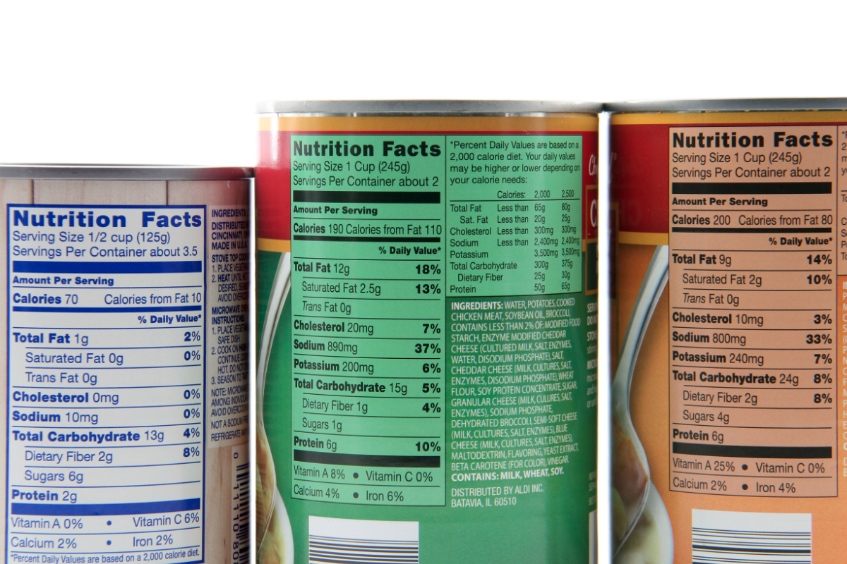 Soup can Nutrition Facts and ingredients labels