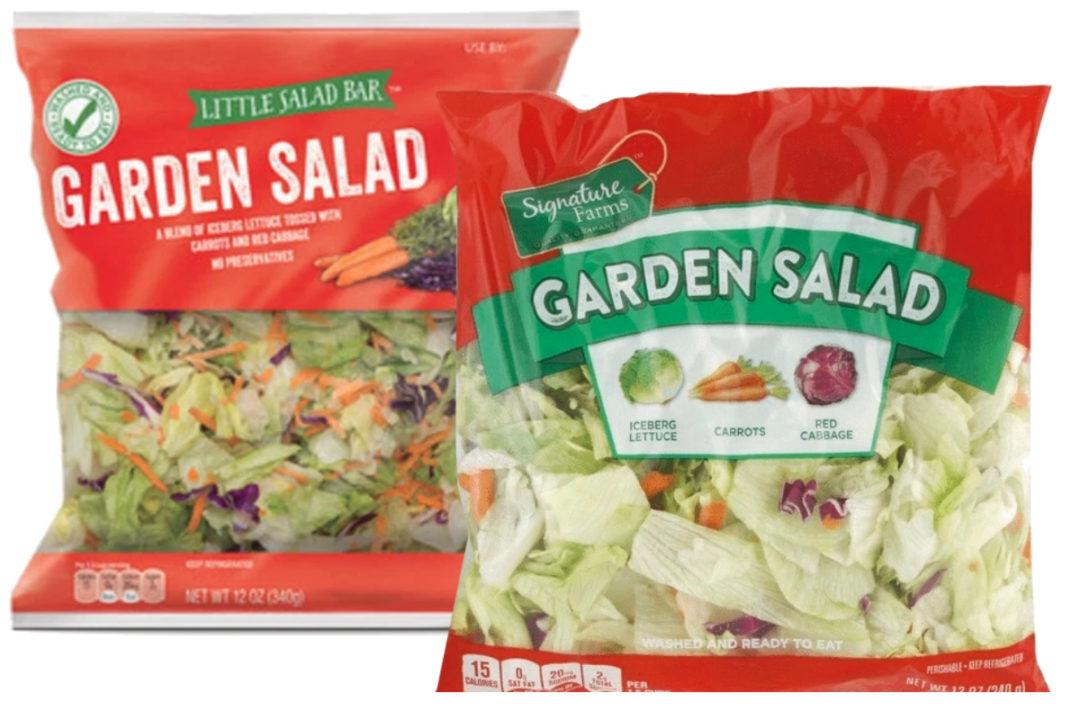 Garden salads from Aldi and Jewel-Osco
