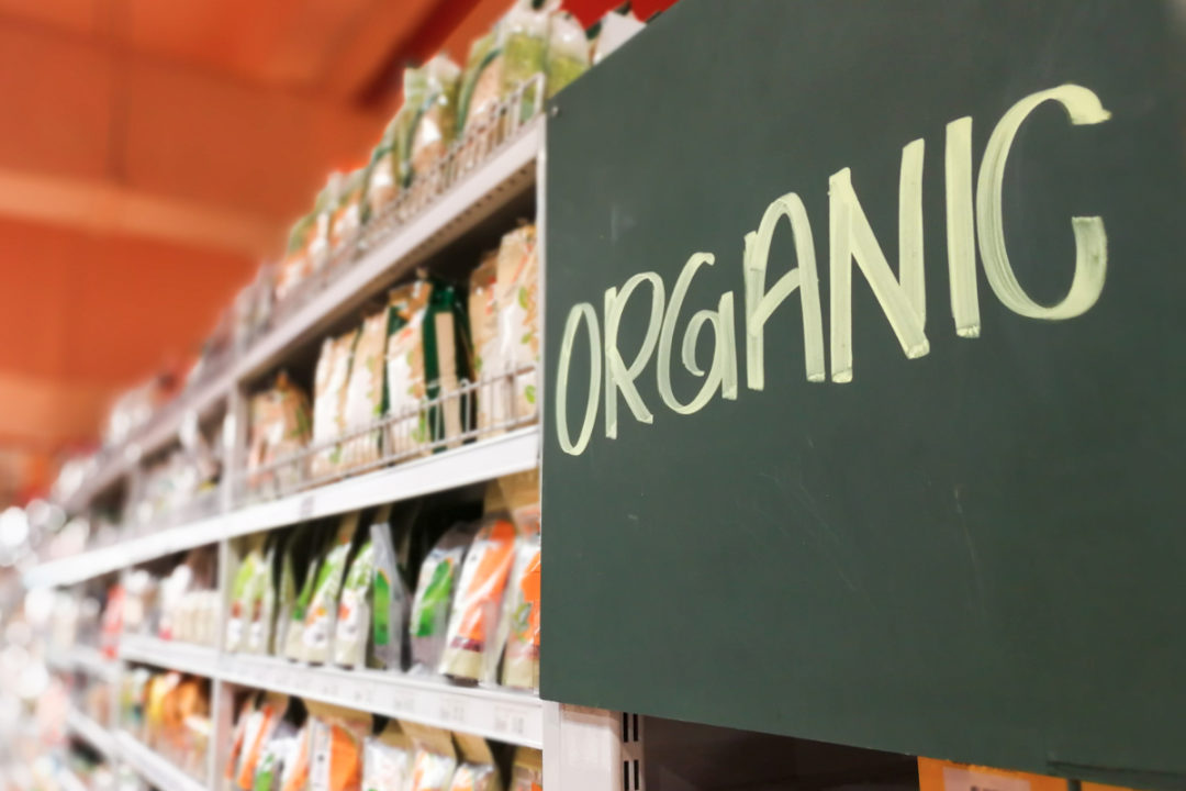 Organic food aisle in supermarket