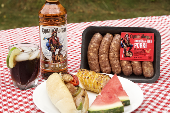 Caribbean jerk pork sausage from Captain Morgan and 3 Little Pigs