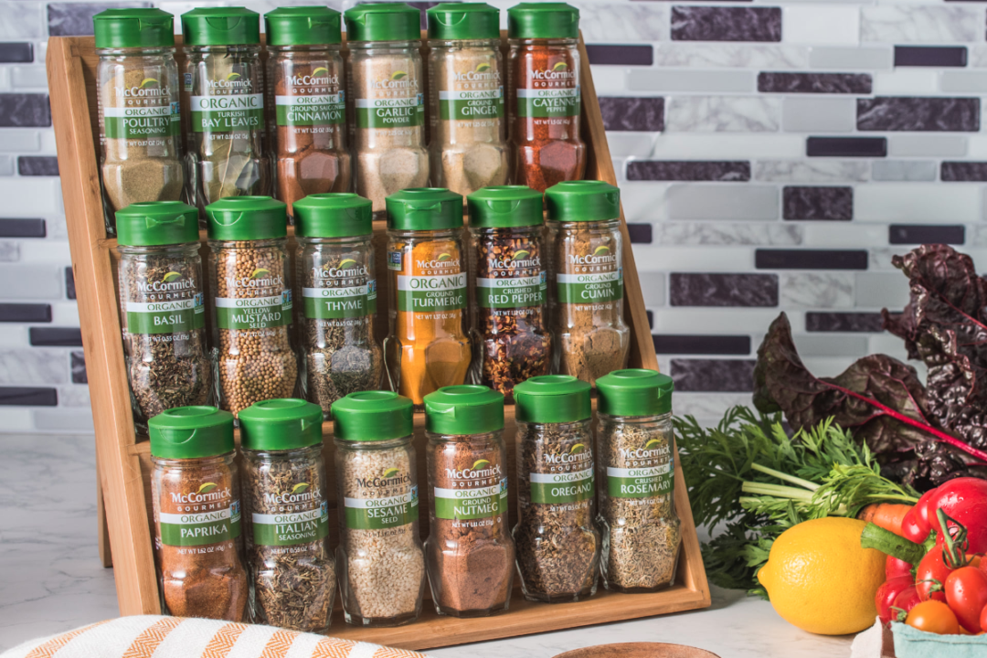 Variety of McCormick & Co. spices on kitchen counter