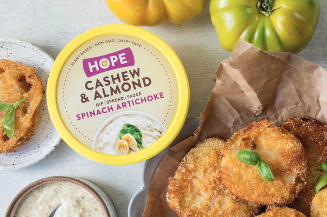 Hope Foods plant-based spinach artichoke dip