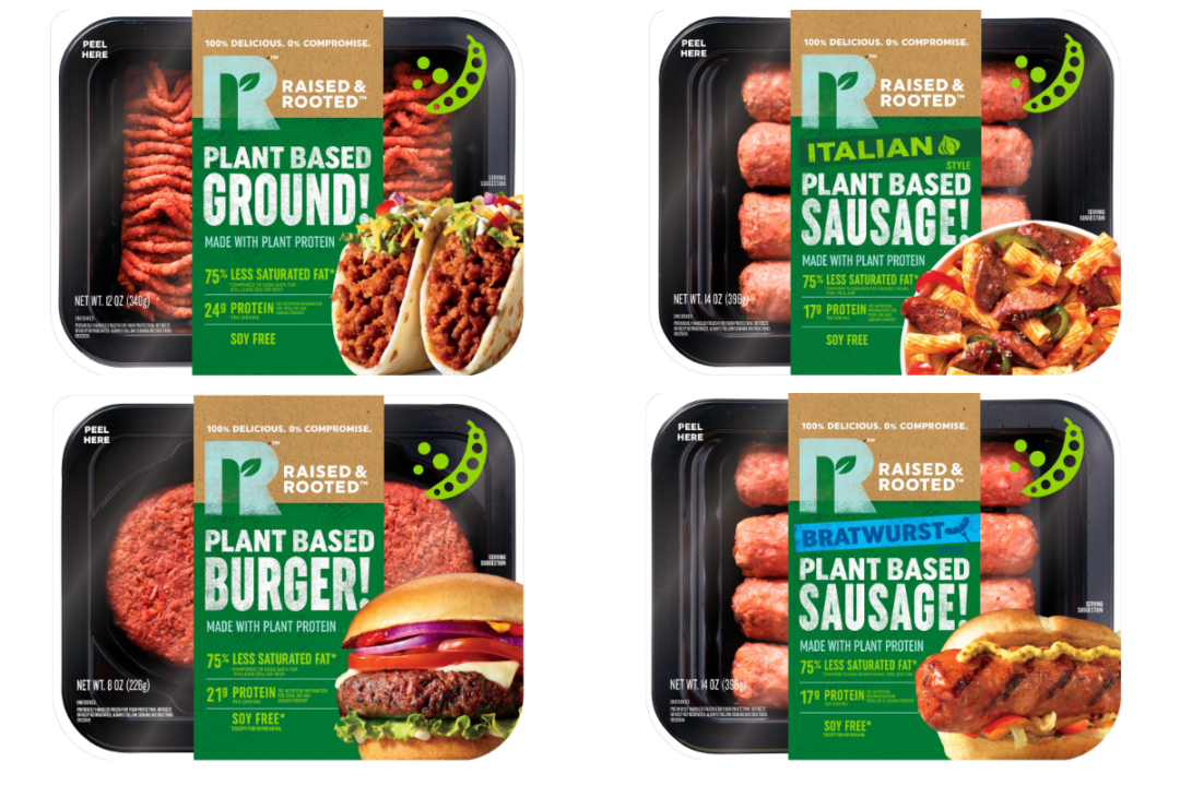 Raised and Rooted bratwurst, Italian sausages, burger and ground meat products