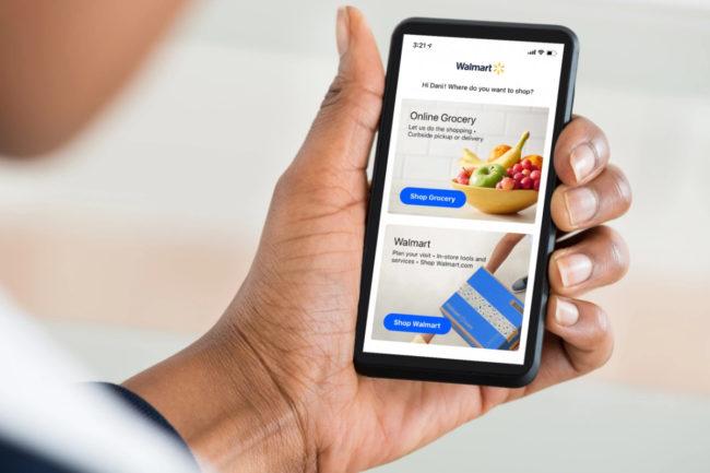 Using Walmart app on phone