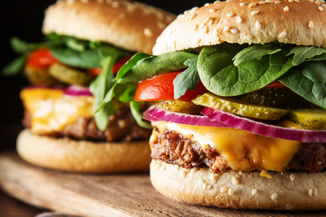 plant-based burgers made with a blend of proteins