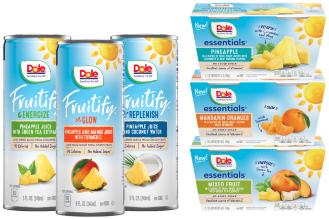 Dole Fruitify beverages and Dole Essentials fruit cups