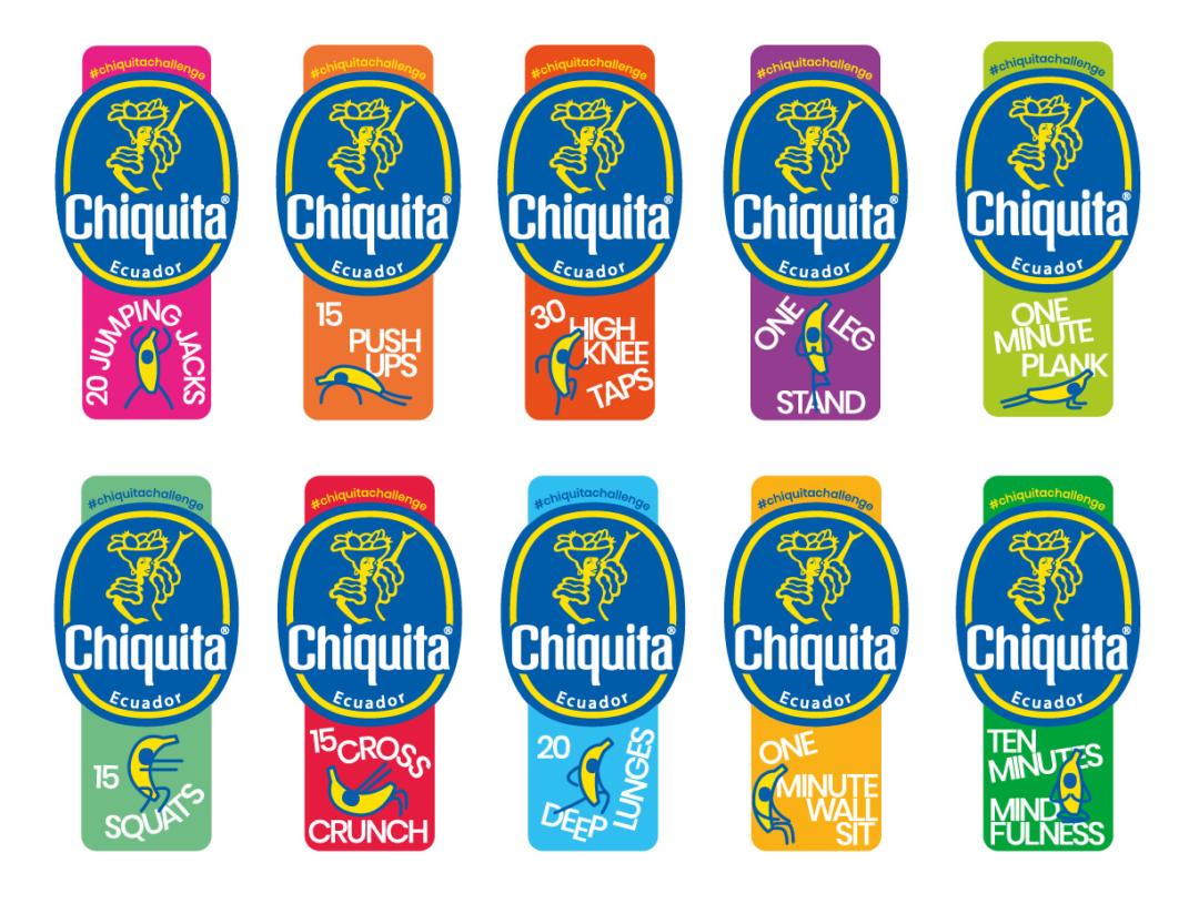 chiquita fitness stickers